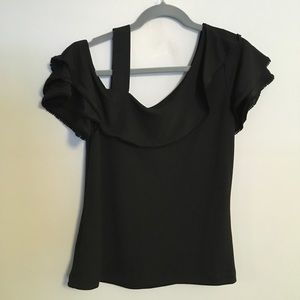 Black one shoulder top with ruffle sleeves small